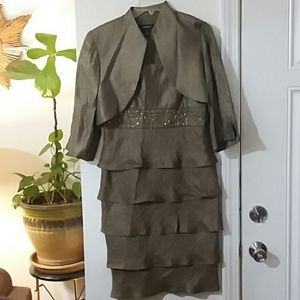 Bronze gold gem embroidered ruffle dress and jacke